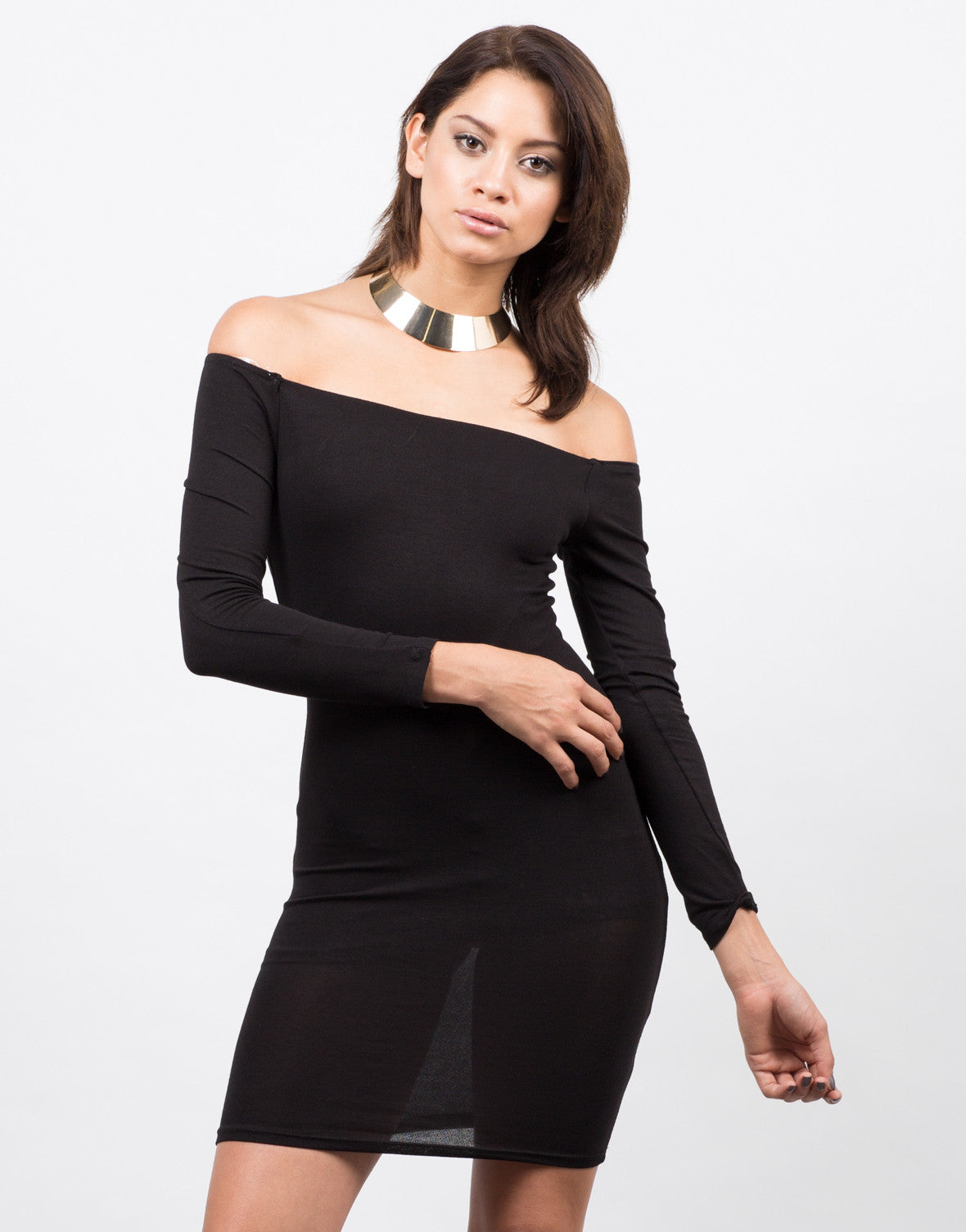 Front View of Off the Shoulder Bodycon Party Dress
