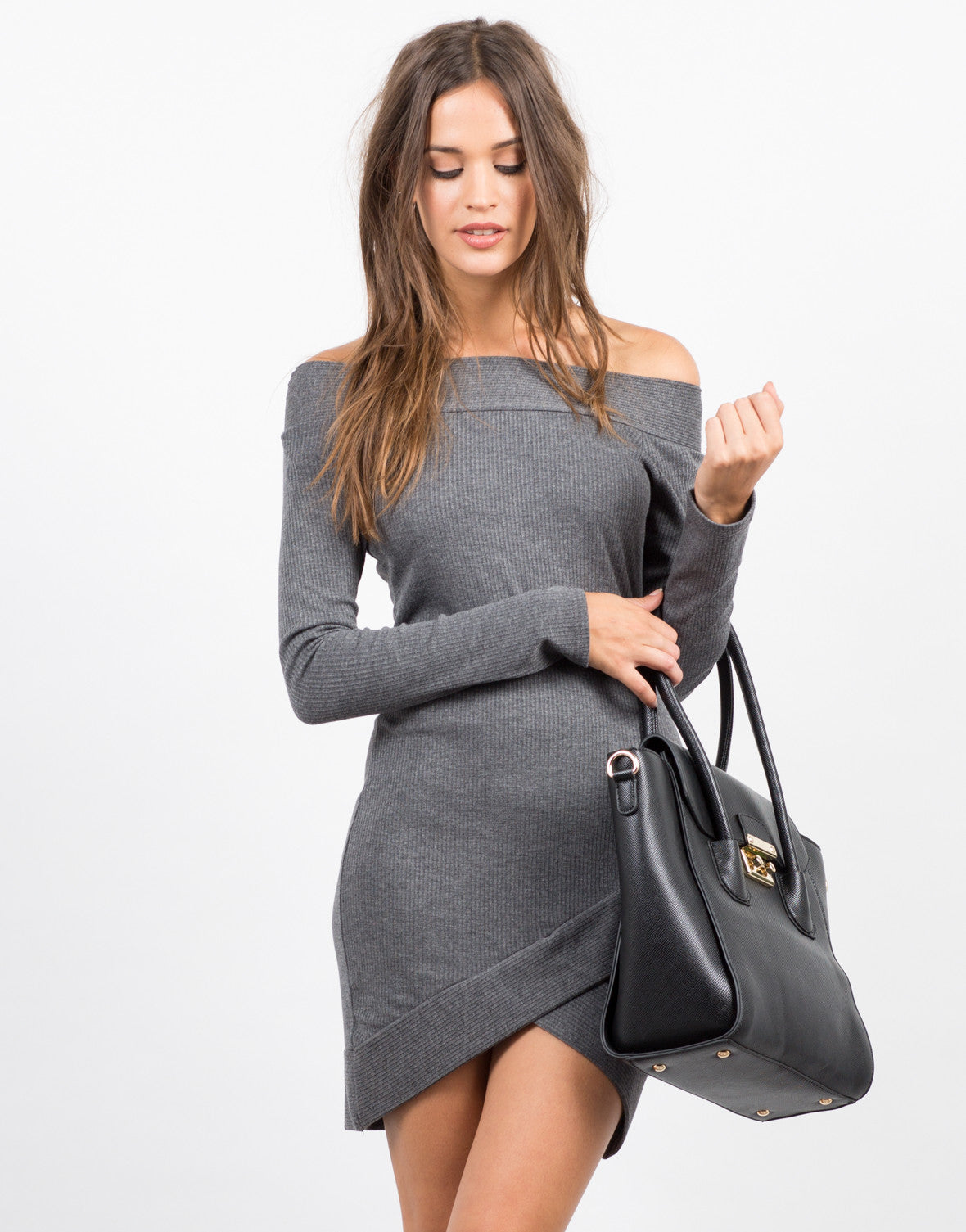 Front View of Off the Shoulder Long Sleeve Dress