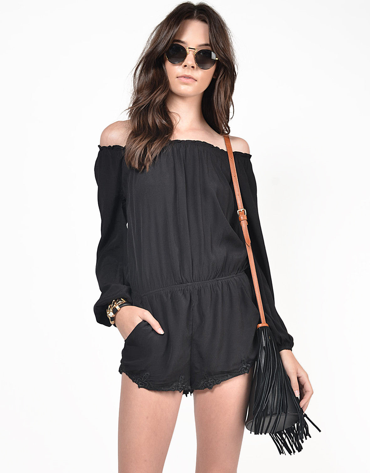 Front View of Off the Shoulder Long Sleeve Romper