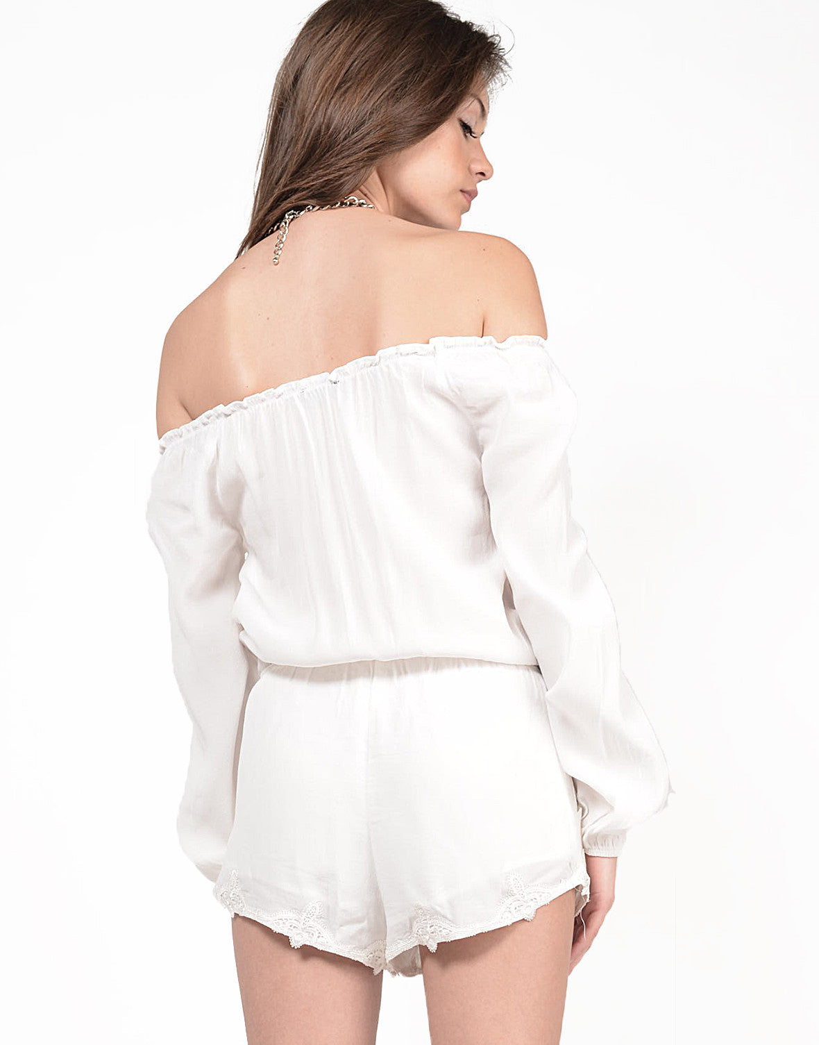 Back View of Off the Shoulder Long Sleeve Romper