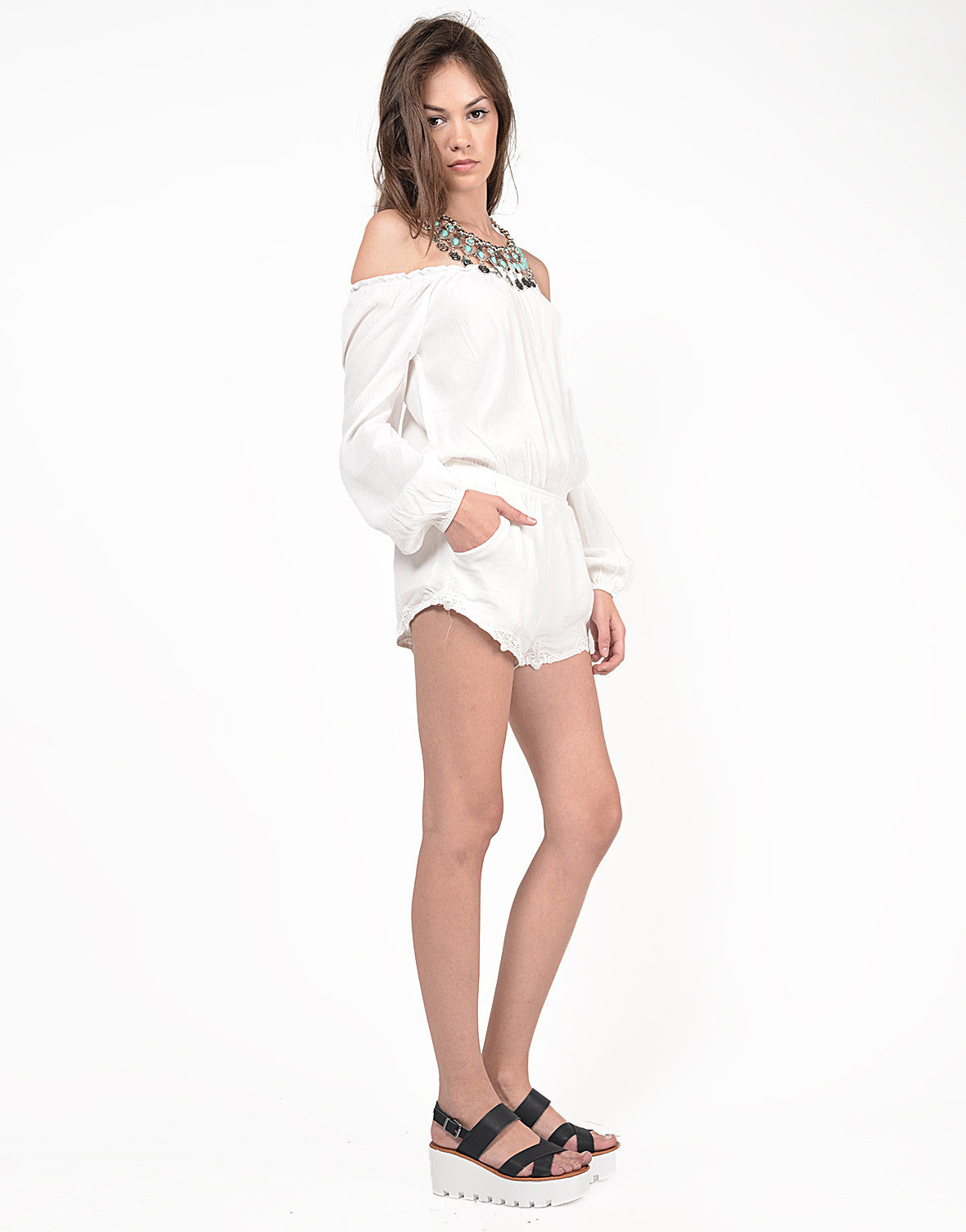 Side View of Off the Shoulder Long Sleeve Romper