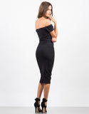 Back View of Off the Shoulder Midi Party Dress