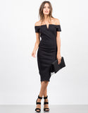 Front View of Off the Shoulder Midi Party Dress