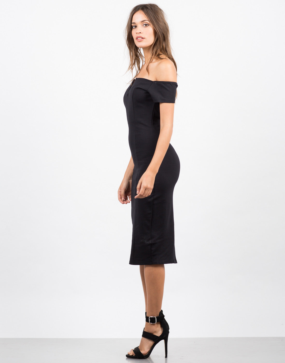 Side View of Off the Shoulder Midi Party Dress