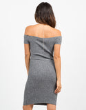 Back View of Off the Shoulder Ribbed Dress
