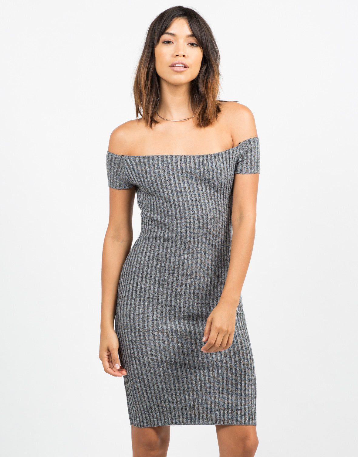 Front View of Off the Shoulder Ribbed Dress