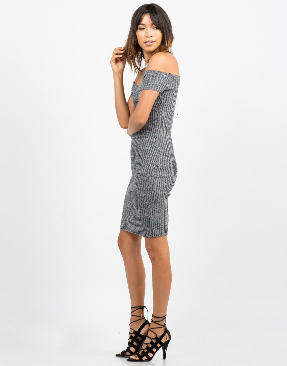 Side View of Off the Shoulder Ribbed Dress
