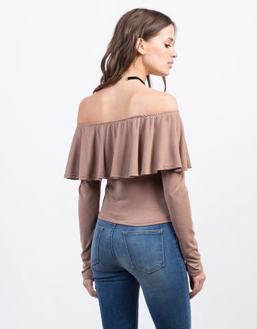 Back View of Off the Shoulder Ruffle Top