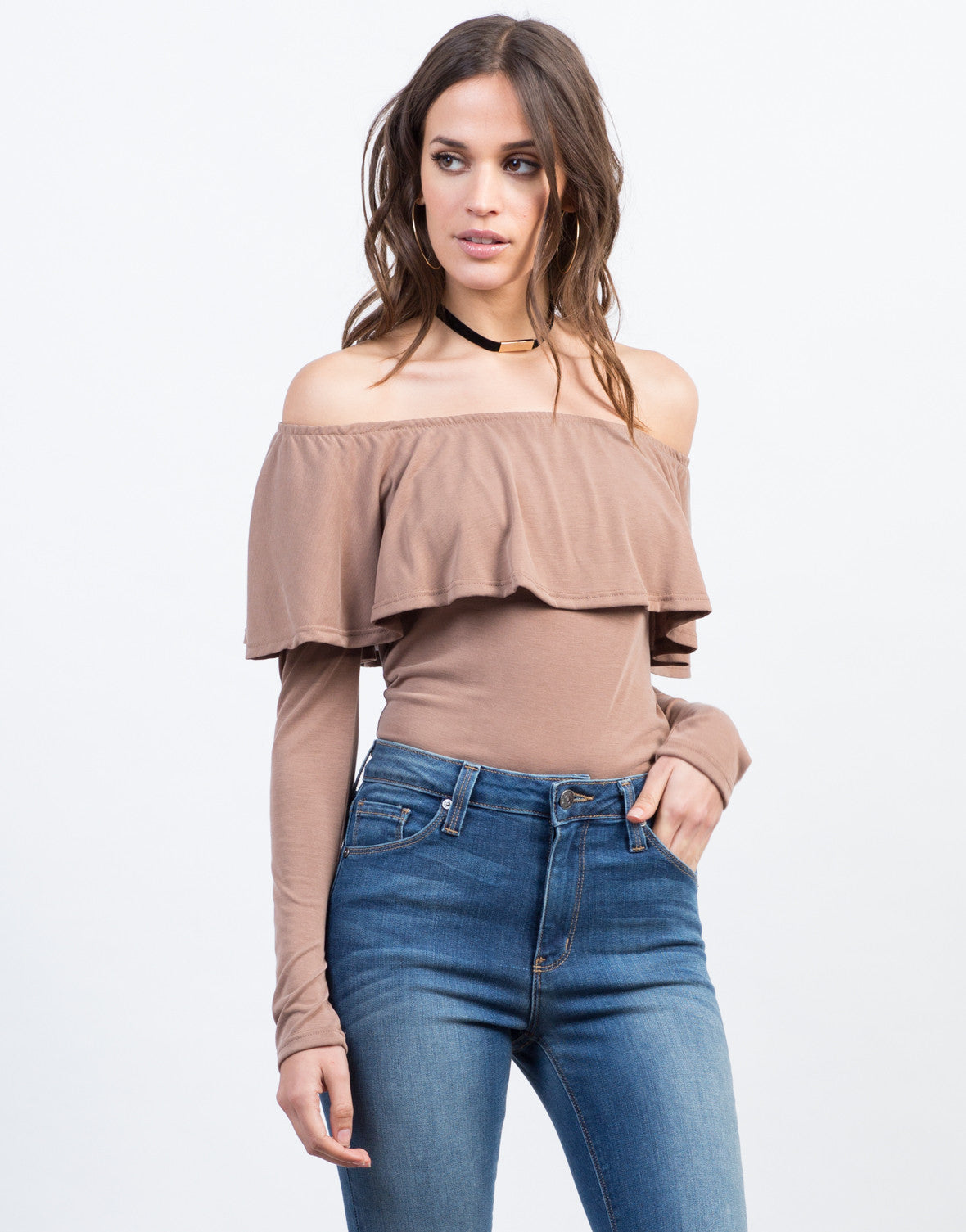 Front View of Off the Shoulder Ruffle Top