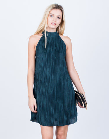 Front View of Olivia Pleated Dress