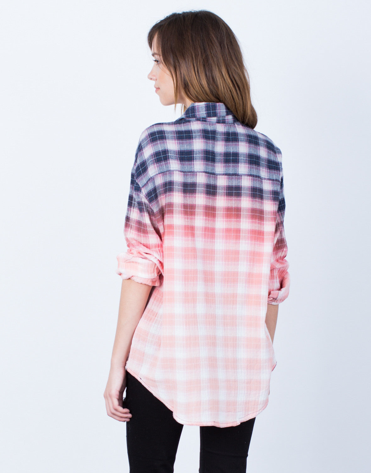Back View of Ombre Button Up Blouse