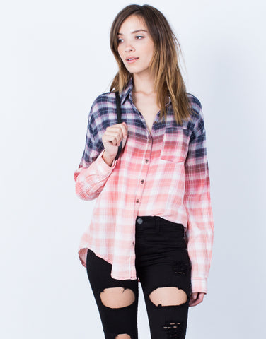 Front View of Ombre Button Up Blouse