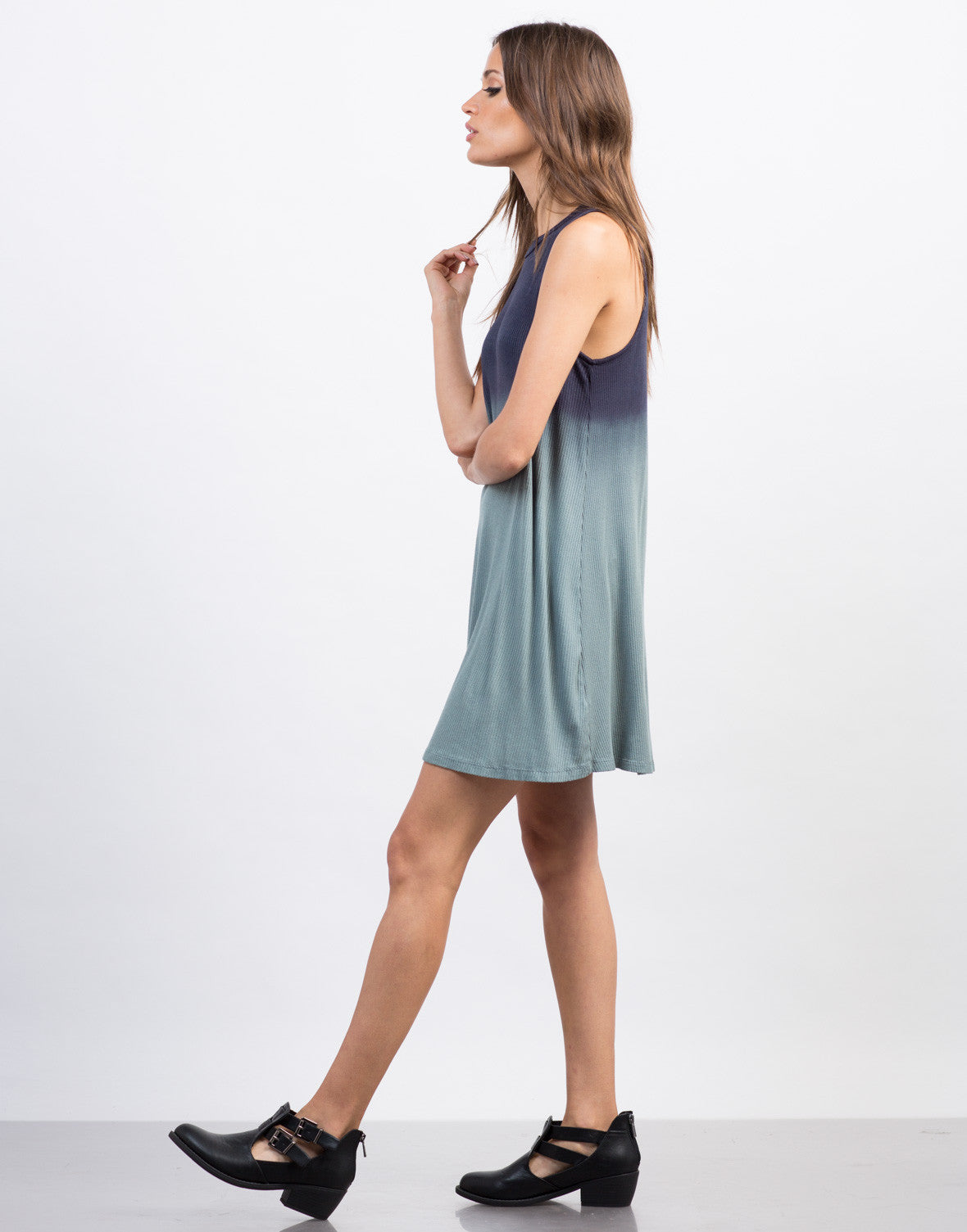 Side View of Ombre Flowy Tank Dress