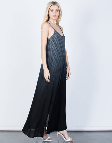 Side View of Ombre Maxi Dress