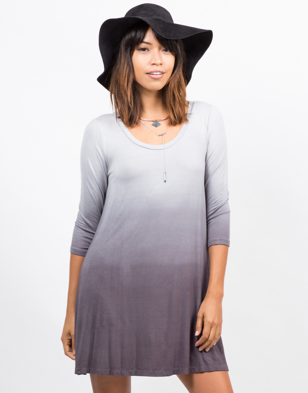 Front View of Ombre Jersey Dress