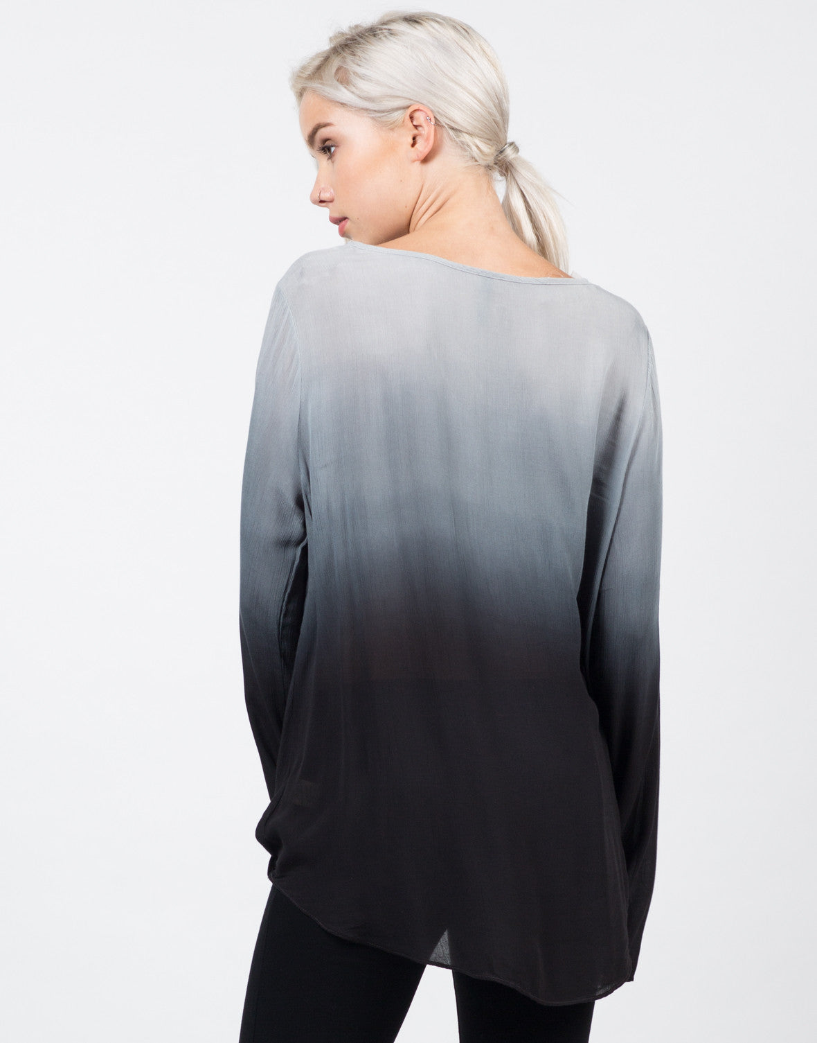 Back View of Ombre Long Sleeved Blouse