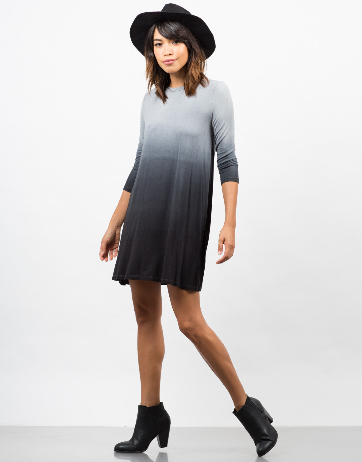 Side View of Ombre Swing Dress