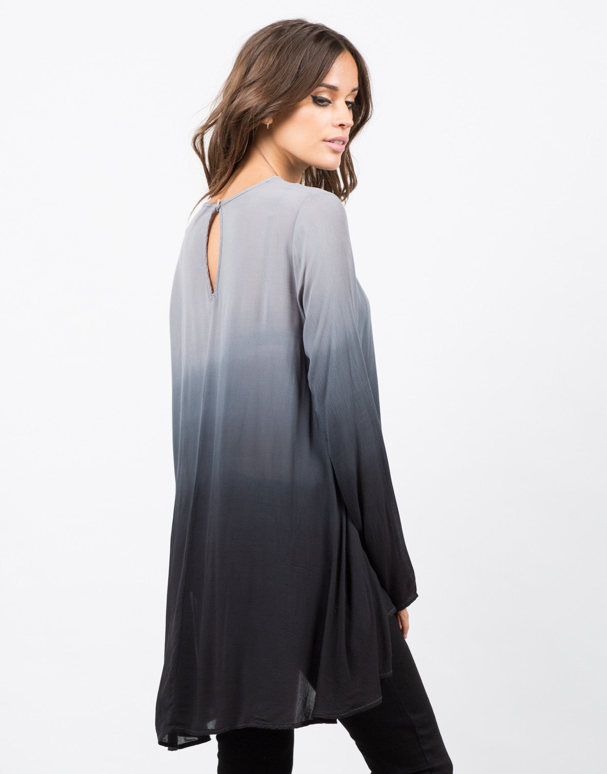 Back View of Ombre Tunic Blouse
