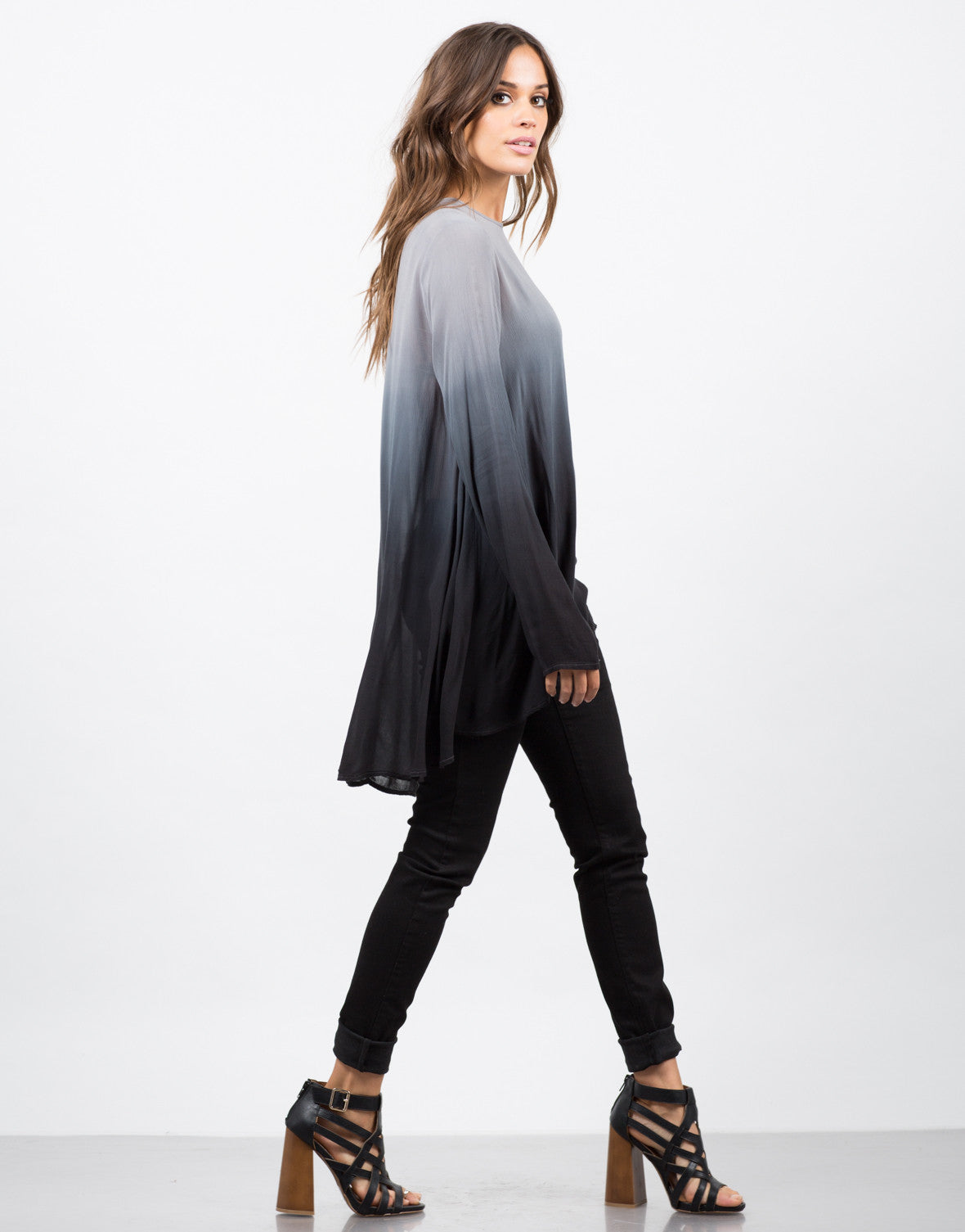 Side View of Ombre Tunic Blouse