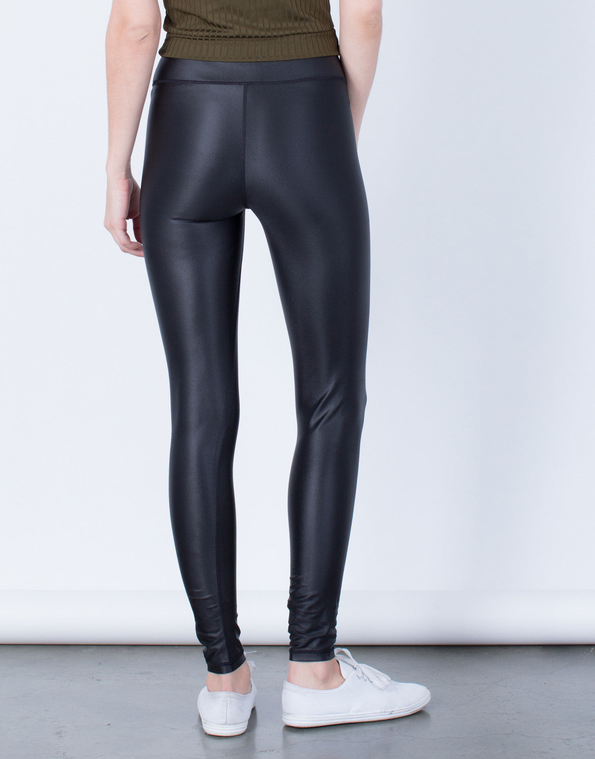 Back View of On the Move Leather Leggings