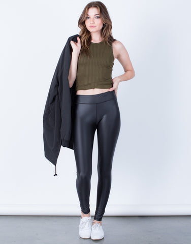 Front View of On the Move Leather Leggings