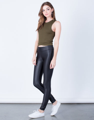 Side View of On the Move Leather Leggings