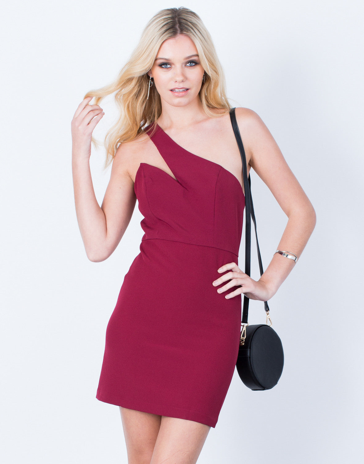 Front View of One Shoulder Bodycon Dress