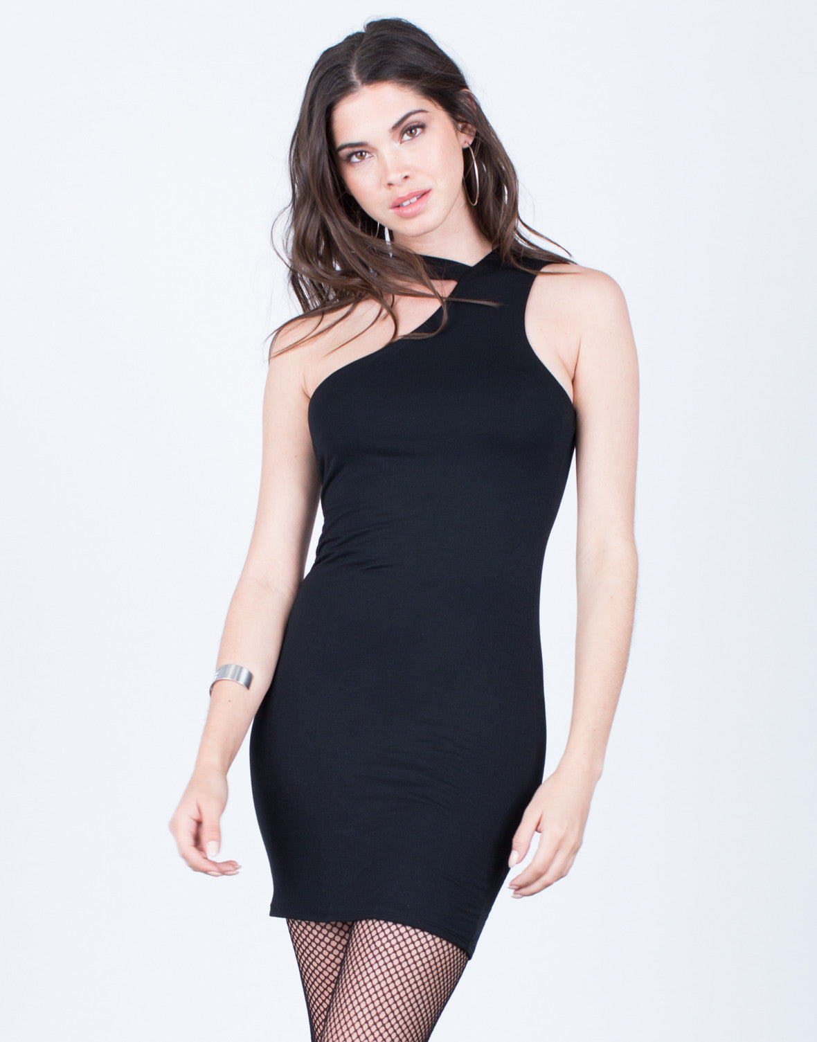 Front View of One Shoulder Dress