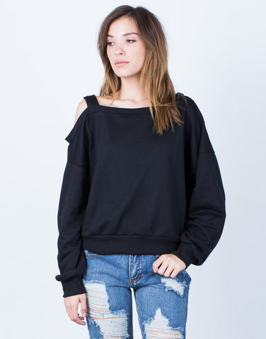 Front View of One Shoulder Sweater