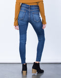 Back View of One Slit High Waisted Jeans