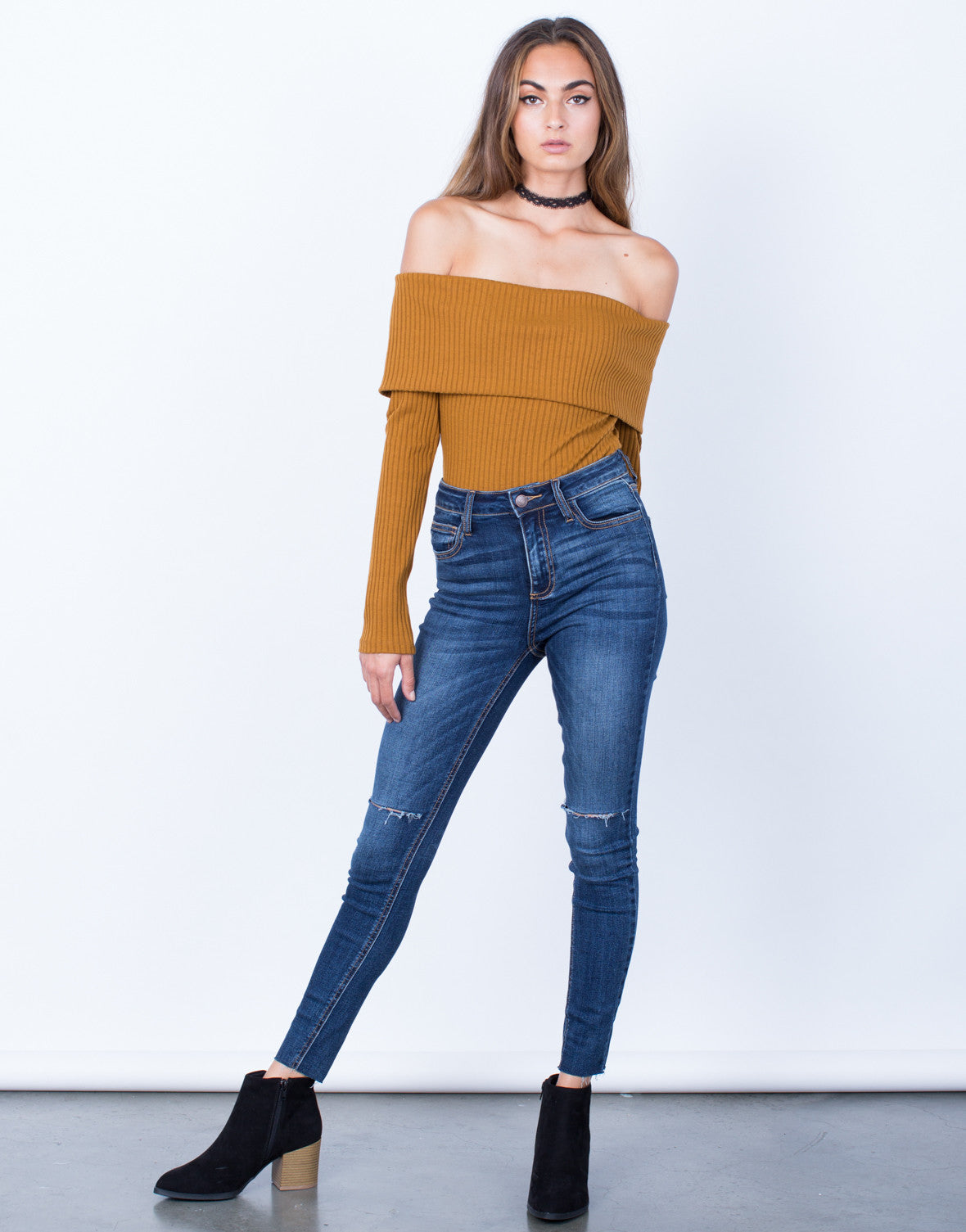 Front View of One Slit High Waisted Jeans