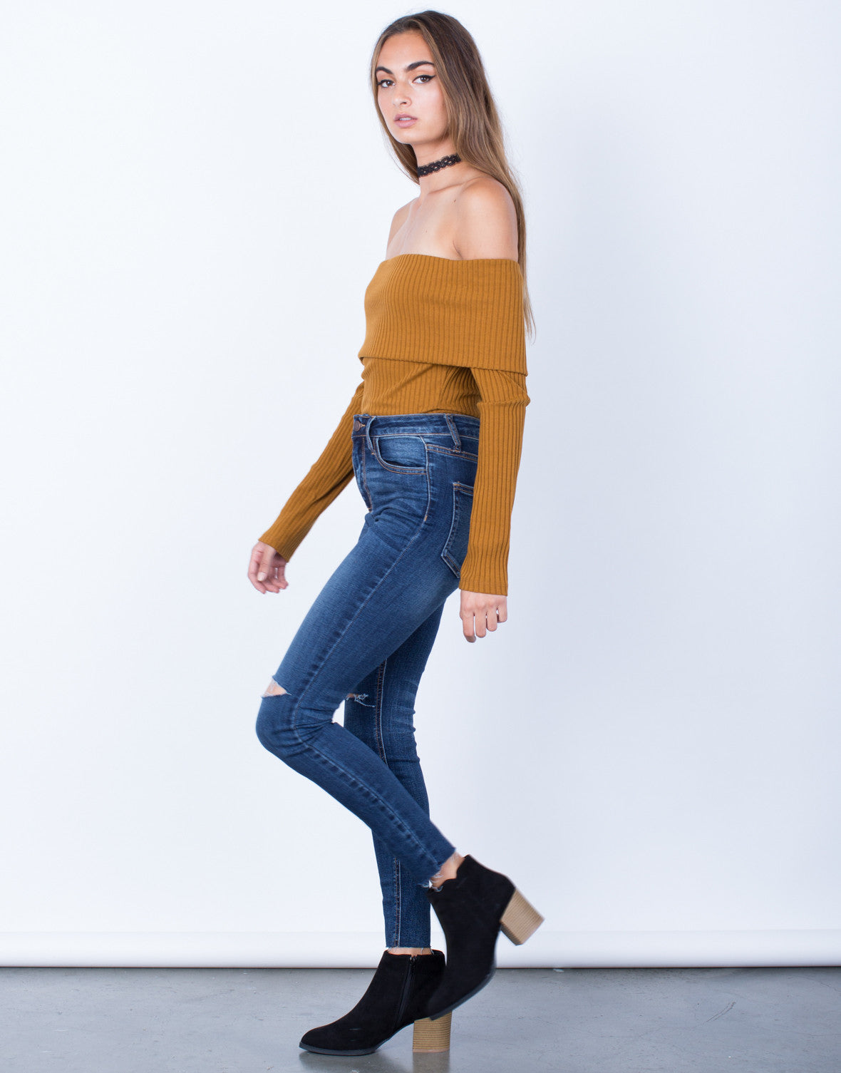 Side View of One Slit High Waisted Jeans