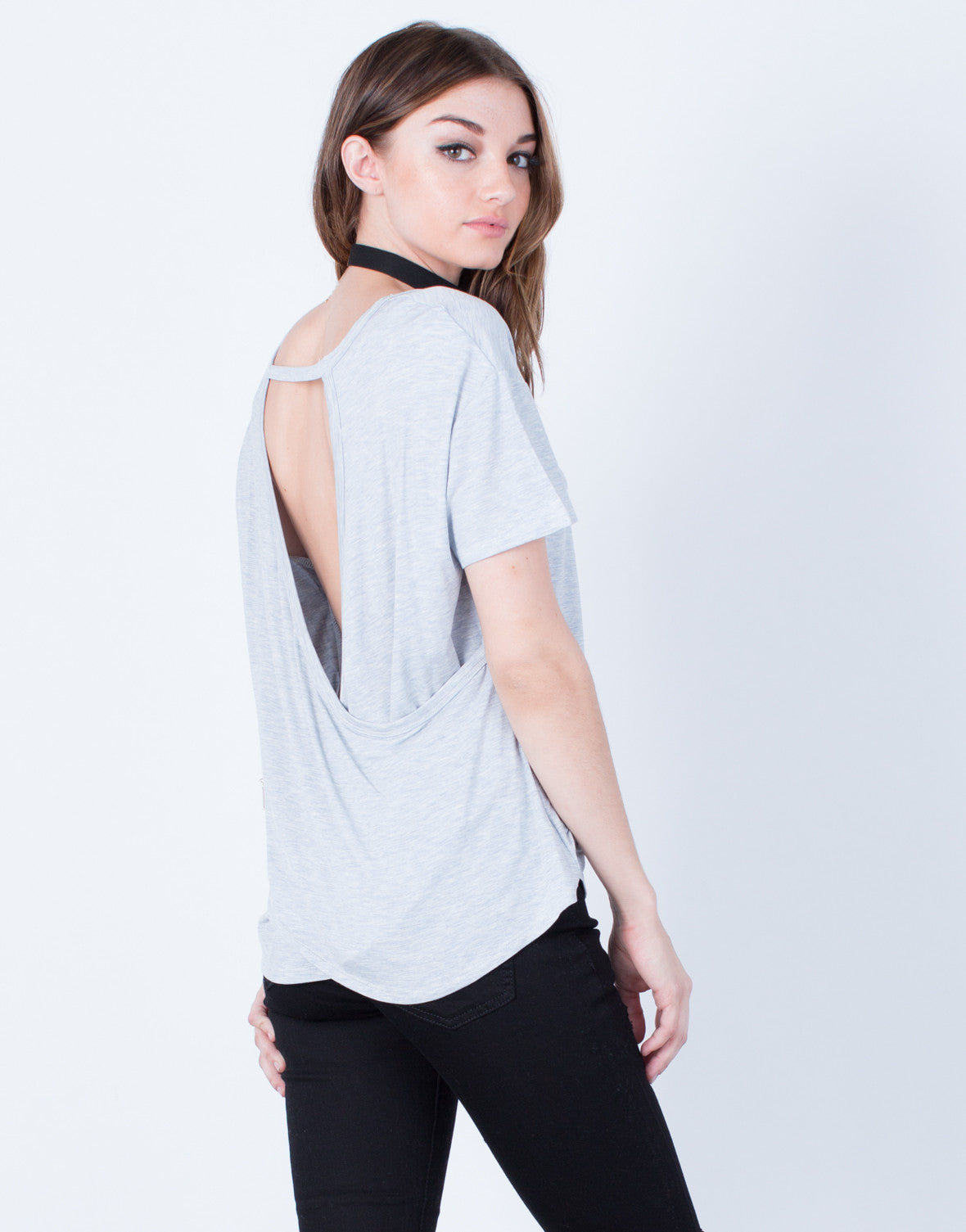 Back View of Open Back Detailed Tee