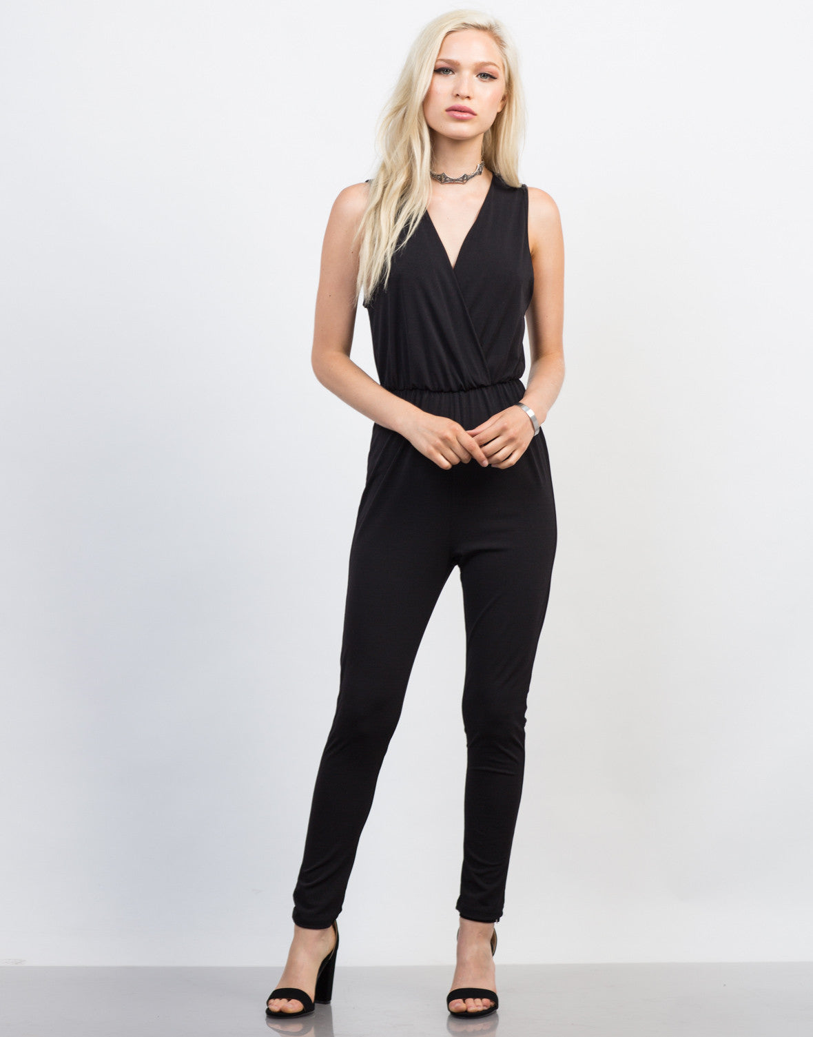 Front View of Open Back Jumpsuit