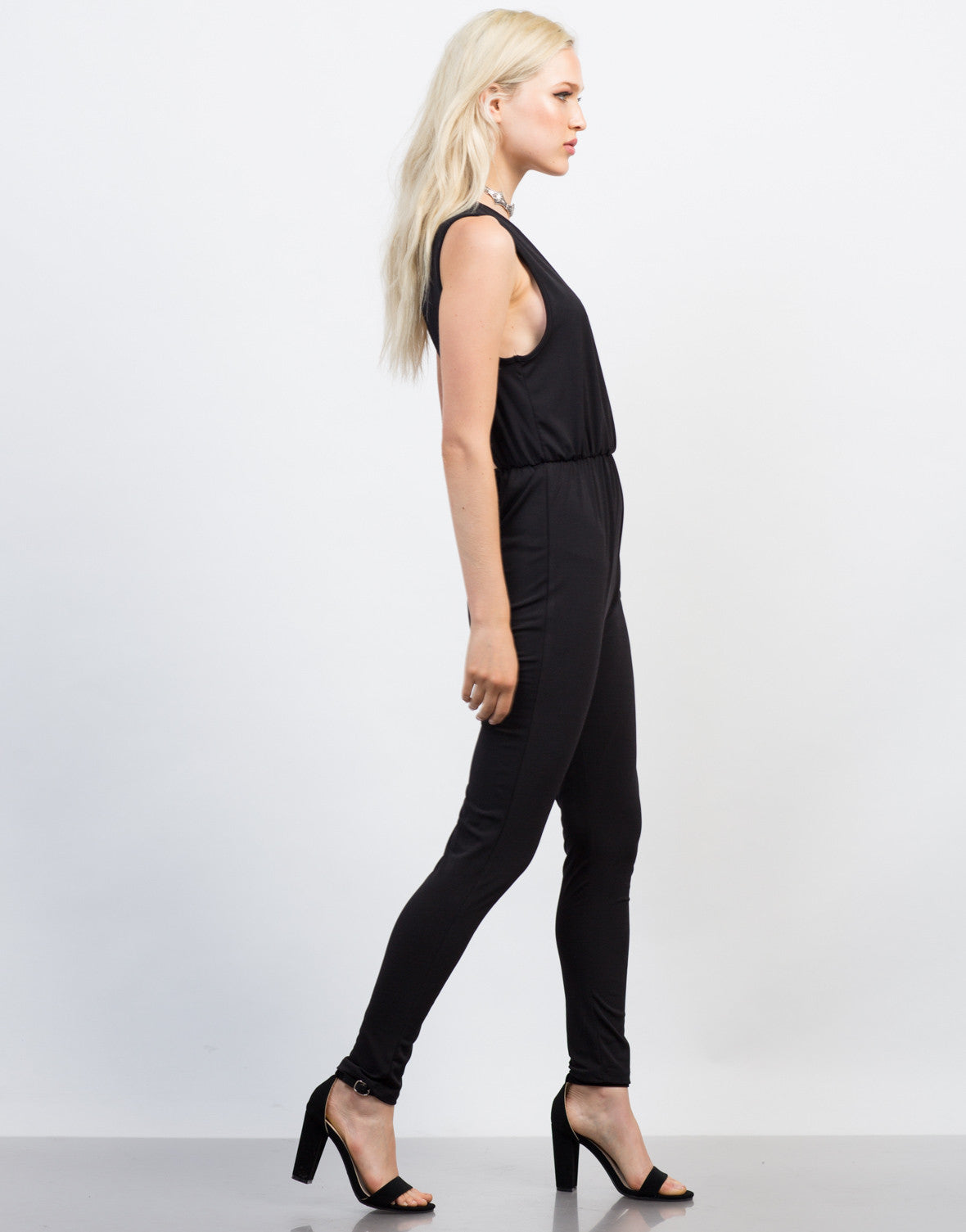 Side View of Open Back Jumpsuit