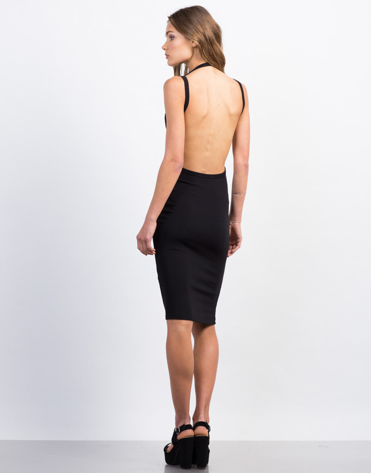Back View of Open Back Midi Bodycon Dress