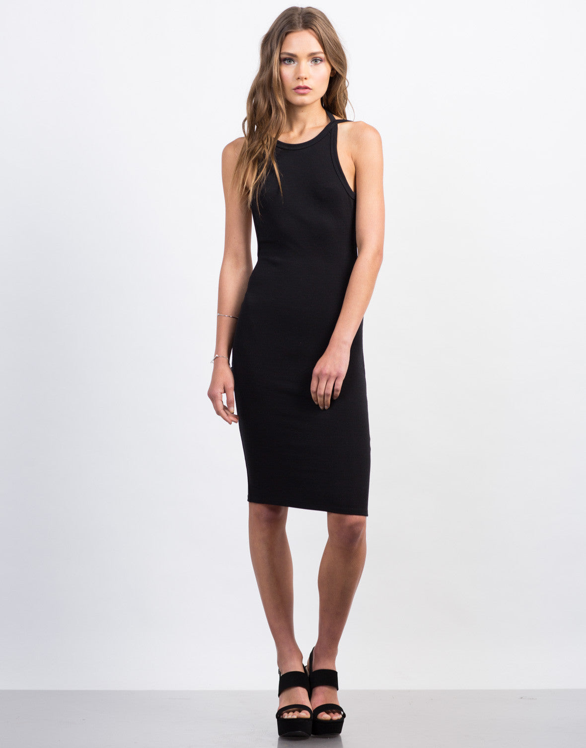 Front View of Open Back Midi Bodycon Dress