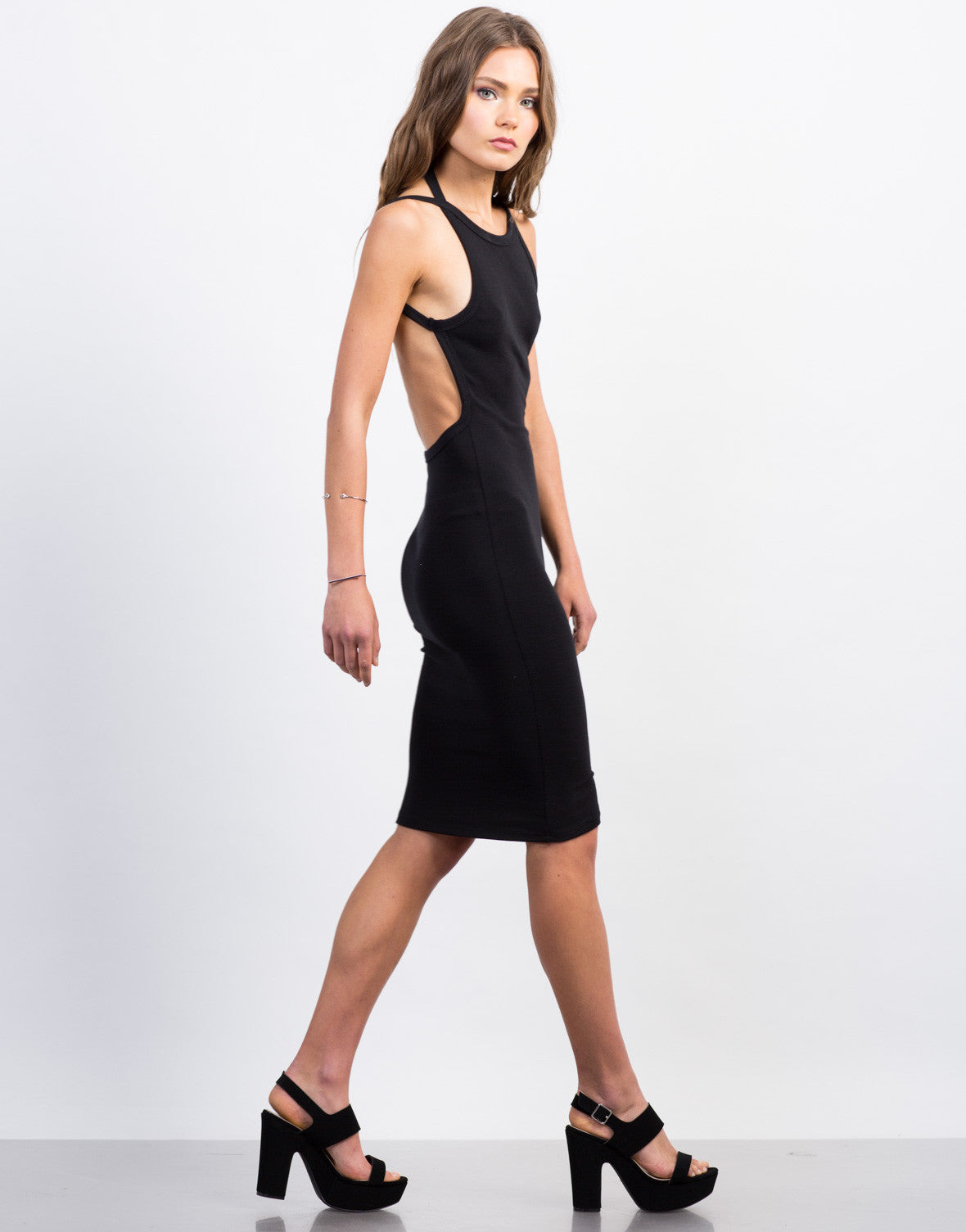 Side View of Open Back Midi Bodycon Dress
