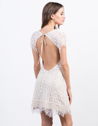Back View of Open Back Tie Lace Dress