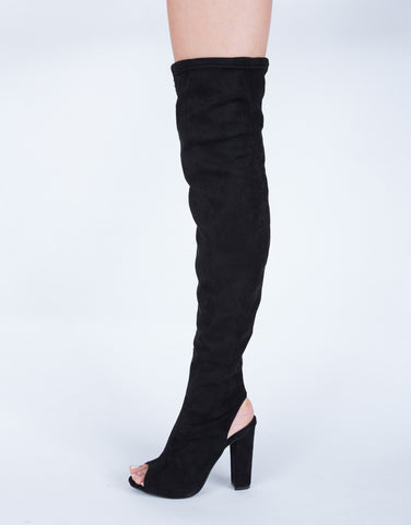 Open Heel Over-the-Knee Boots