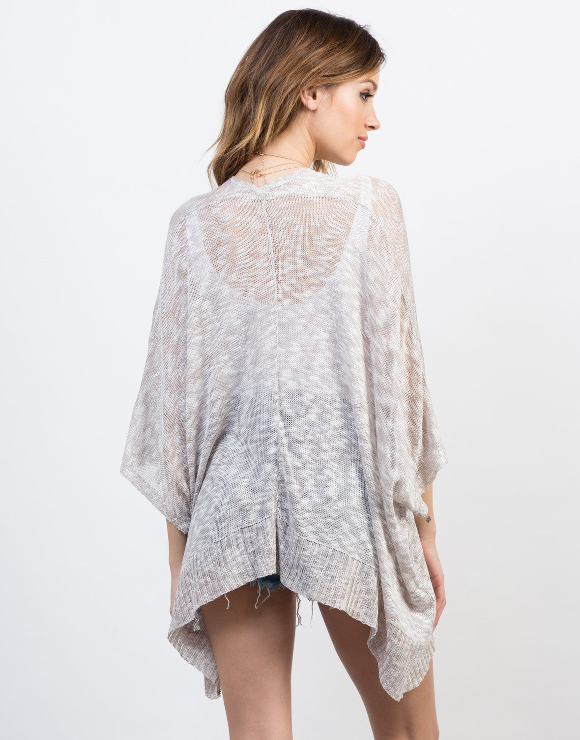 Back View of Open Knitted Cardigan