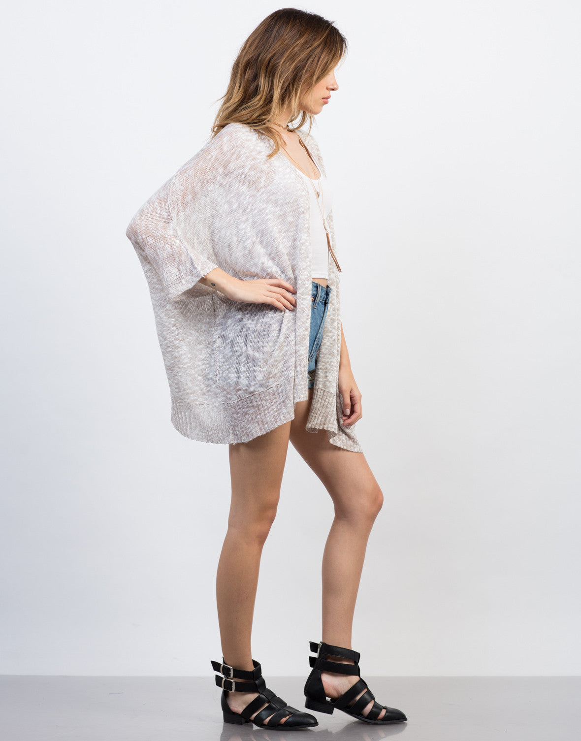 Side View of Open Knitted Cardigan