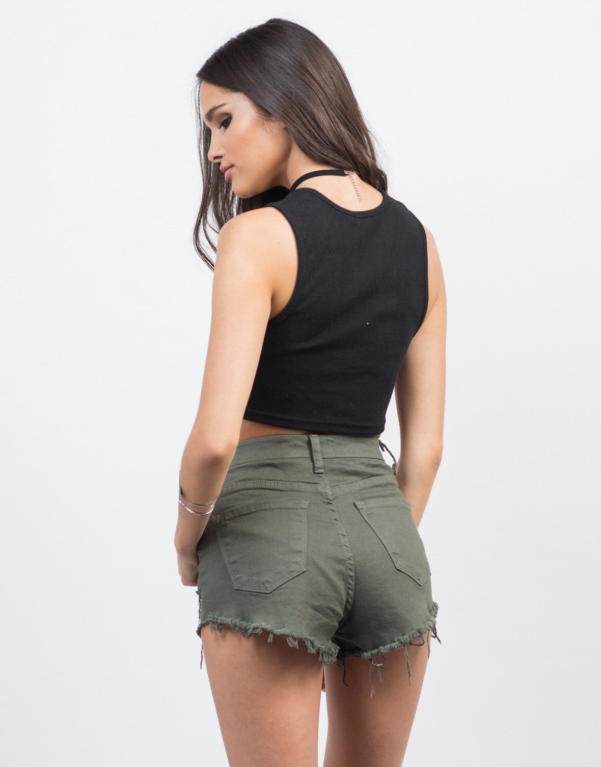 Back View of Open Lace-Up Cropped Tank