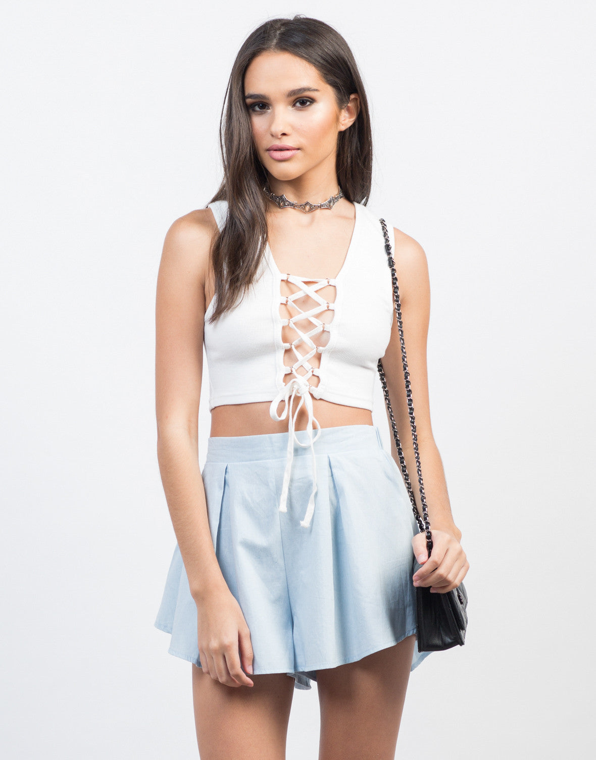Front View of Open Lace-Up Cropped Tank