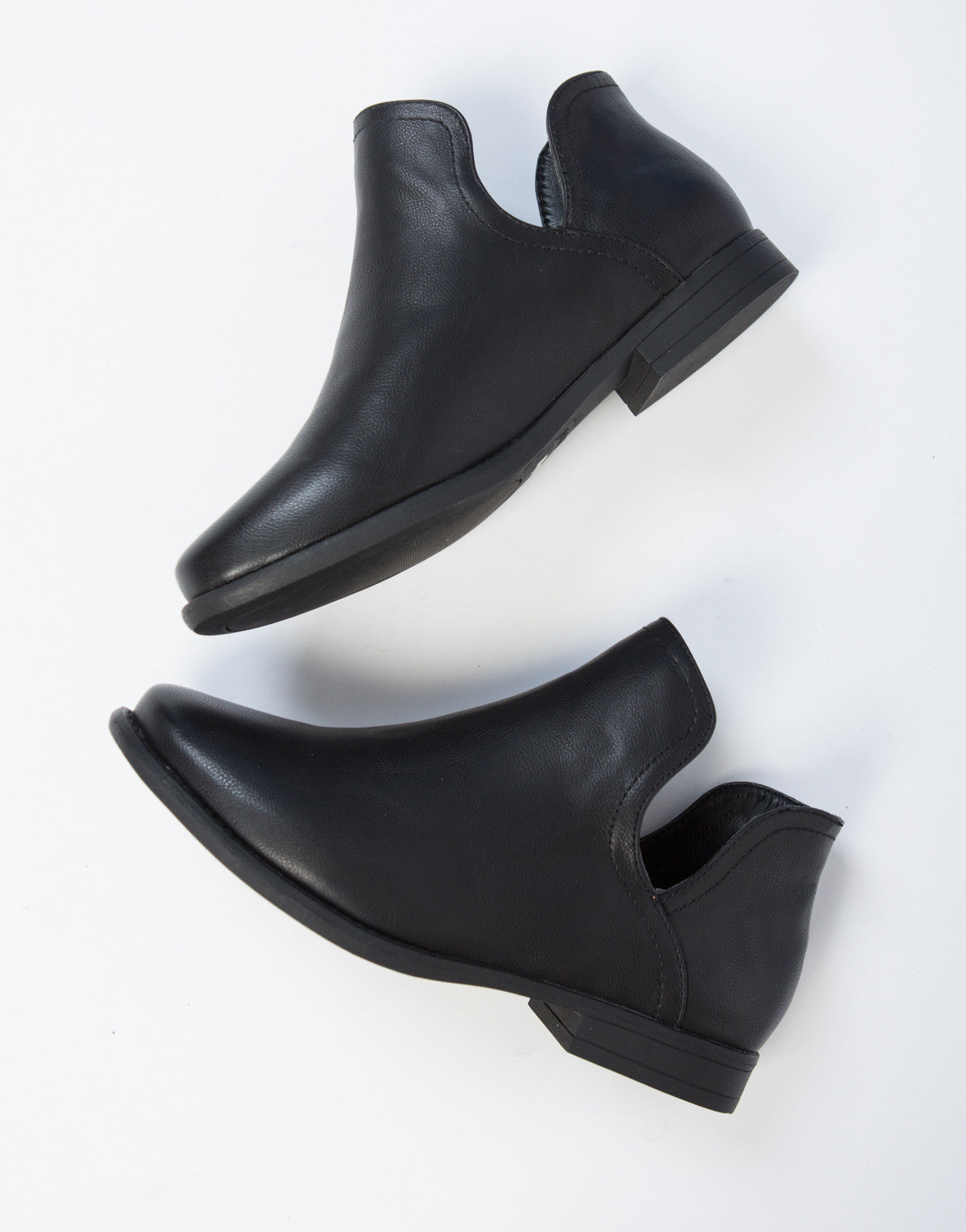 e9c0377dd588 Open Sides Ankle Booties - Black Leather Boots - Low Cut Ankle ...