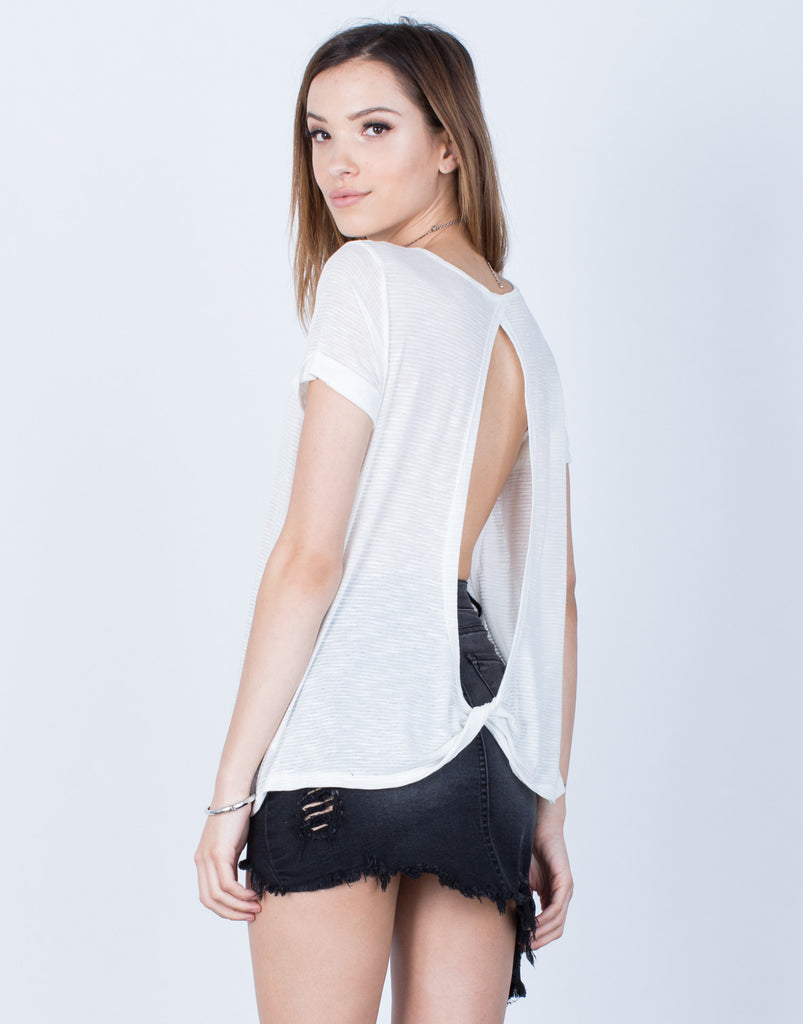 Back View of Open Twist Back Tee