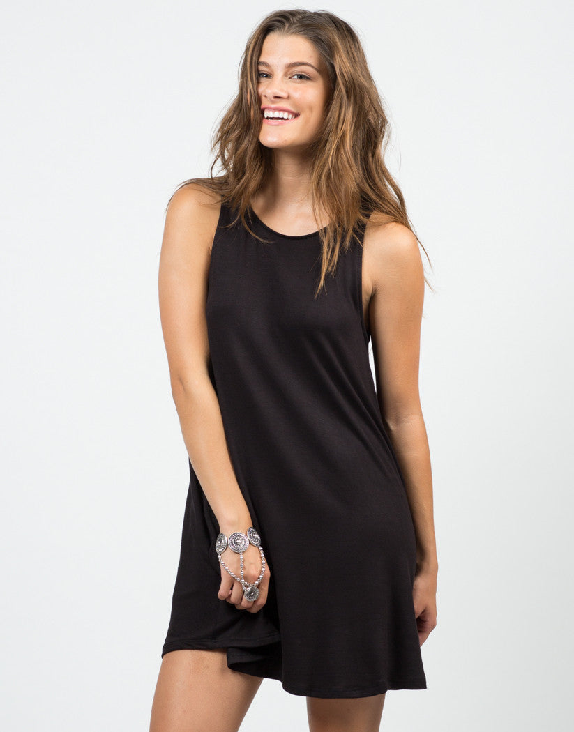 Front View of Open Back Tank Dress