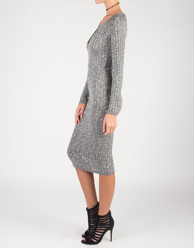 Open Key Hole Knitted Midi Dress - 2020AVE