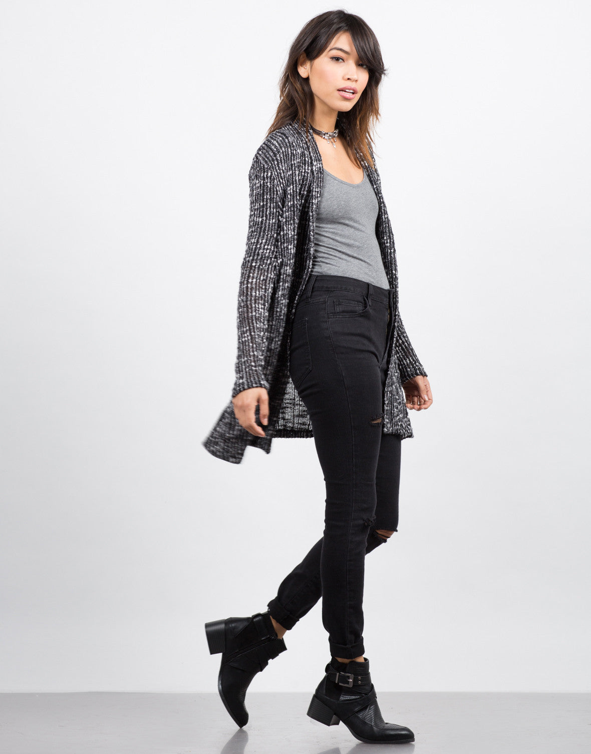 Side View of Open Knit Sweater Cardigan