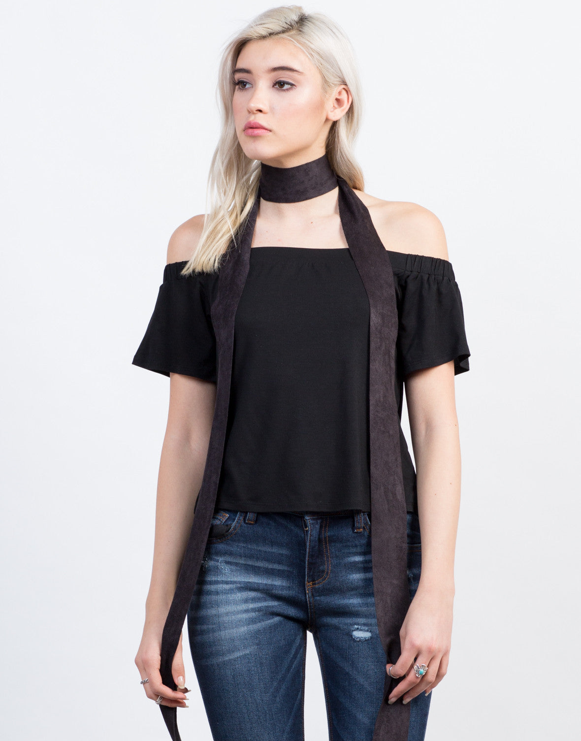 Front View of Open Neck Boxy Top